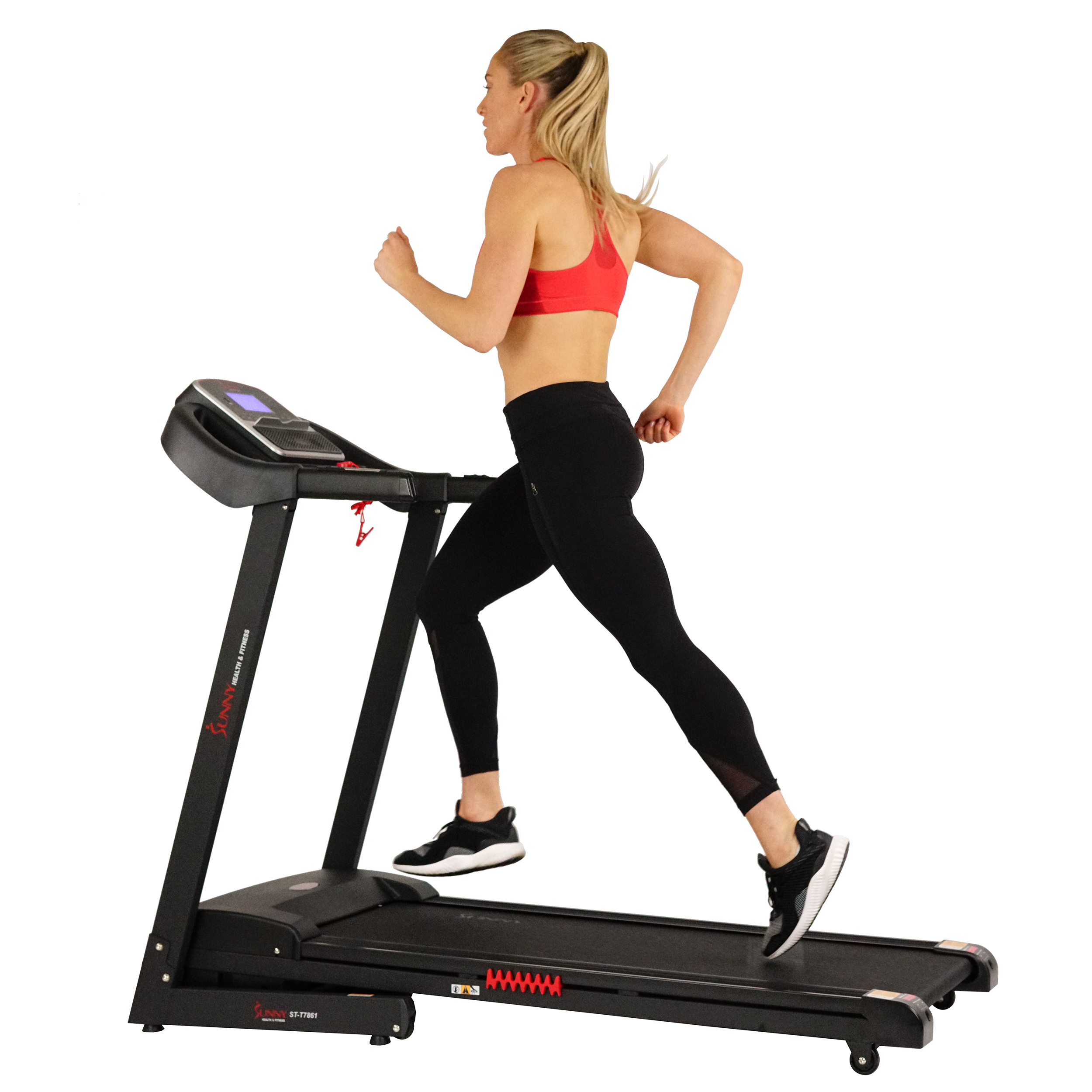 Sunny Health & Fitness Electric Treadmill with Auto Incline and USB Charging Function - SF-T7861