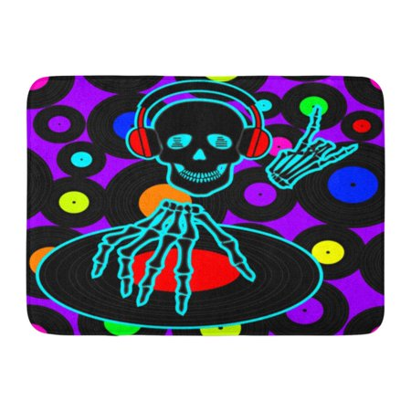 GODPOK Dance Blue Abstract Music Dj Skull Vinyl Discs Colorful Acid Disco Rug Doormat Bath Mat 23.6x15.7 (Wired Dance Mat)