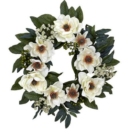 Nearly Natural Magnolia Wreath