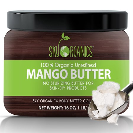 Dry Mango Butter (Sky Organics Unrefined, Organic Mango Butter for Dry Skin and Hair Care, 16 Oz.)