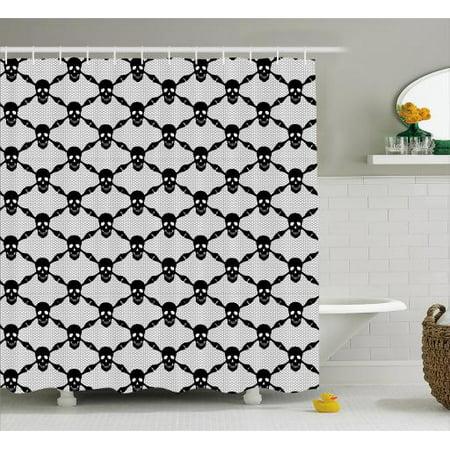 Gothic Shower Curtain Halloween Horror Theme Spooky Black Skulls Checkered Pattern With Skeleton Bones