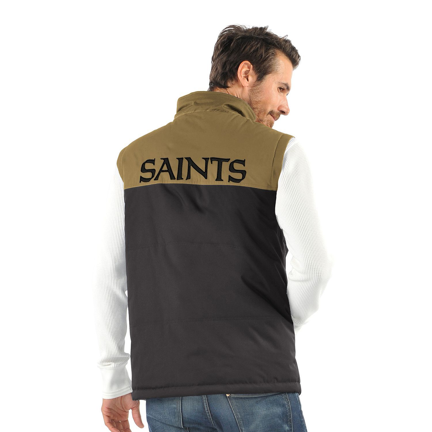 New Orleans Saints Men's 5-in-1 Fleece Hooded Jacket & Woven Reversible Vest Set by G-III Sports