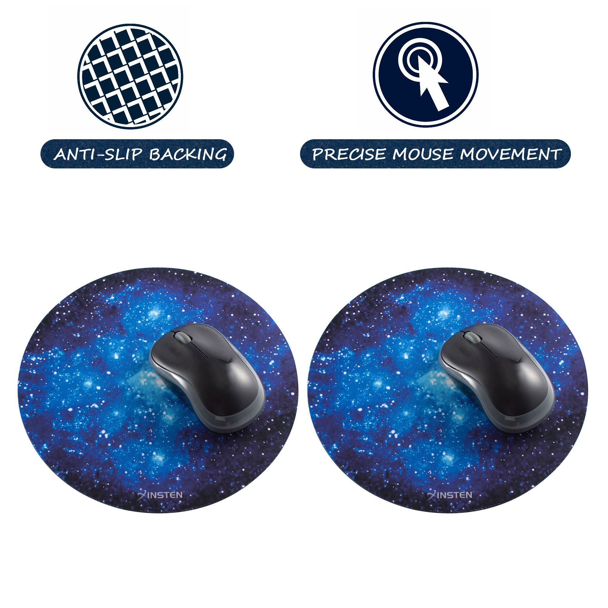 """Mouse pad by Insten 2-pack Galactic Space Design Round Galaxy Mouse Mat Pad Anti-Slip Backing Silky Smooth Surface 2mm Ultra Thick Diameter: 8.46"""" For Laptop PC Gaming Home Office - Blue Starry Night"""