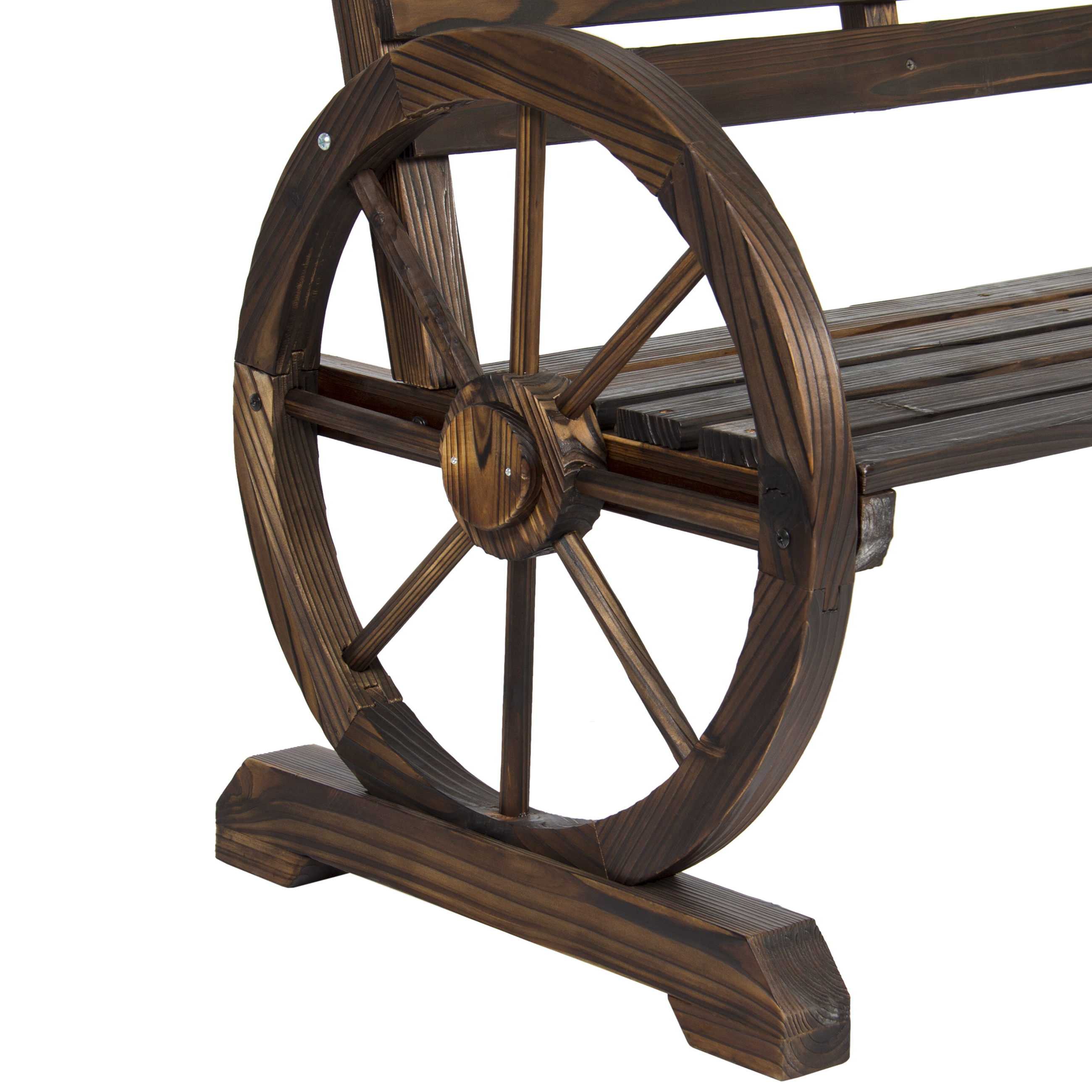 BCP Patio Garden Wooden Wagon Wheel Bench Rustic Wood Design Outdoor  Furniture   Walmart.com
