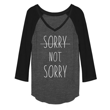 Chin Up Sorry Not Sorry Line Juniors Graphic Baseball Tee