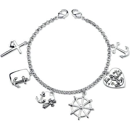 Stainless Steel Faith Is My Anchor Cross Charm Link Bracelet