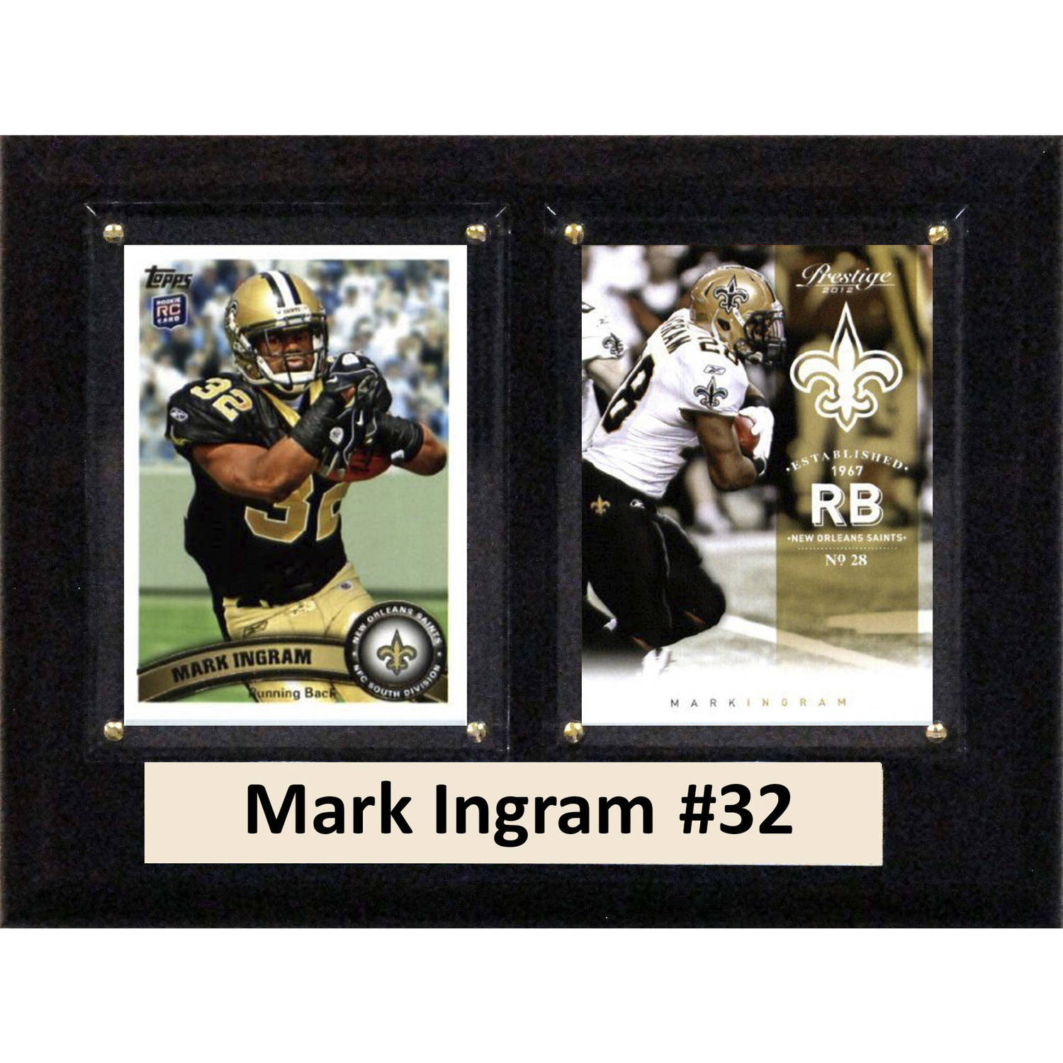 """C & I Collectables NFL 6"""" x 8"""" Mark Ingram New Orleans Saints Two-Card Plaque"""