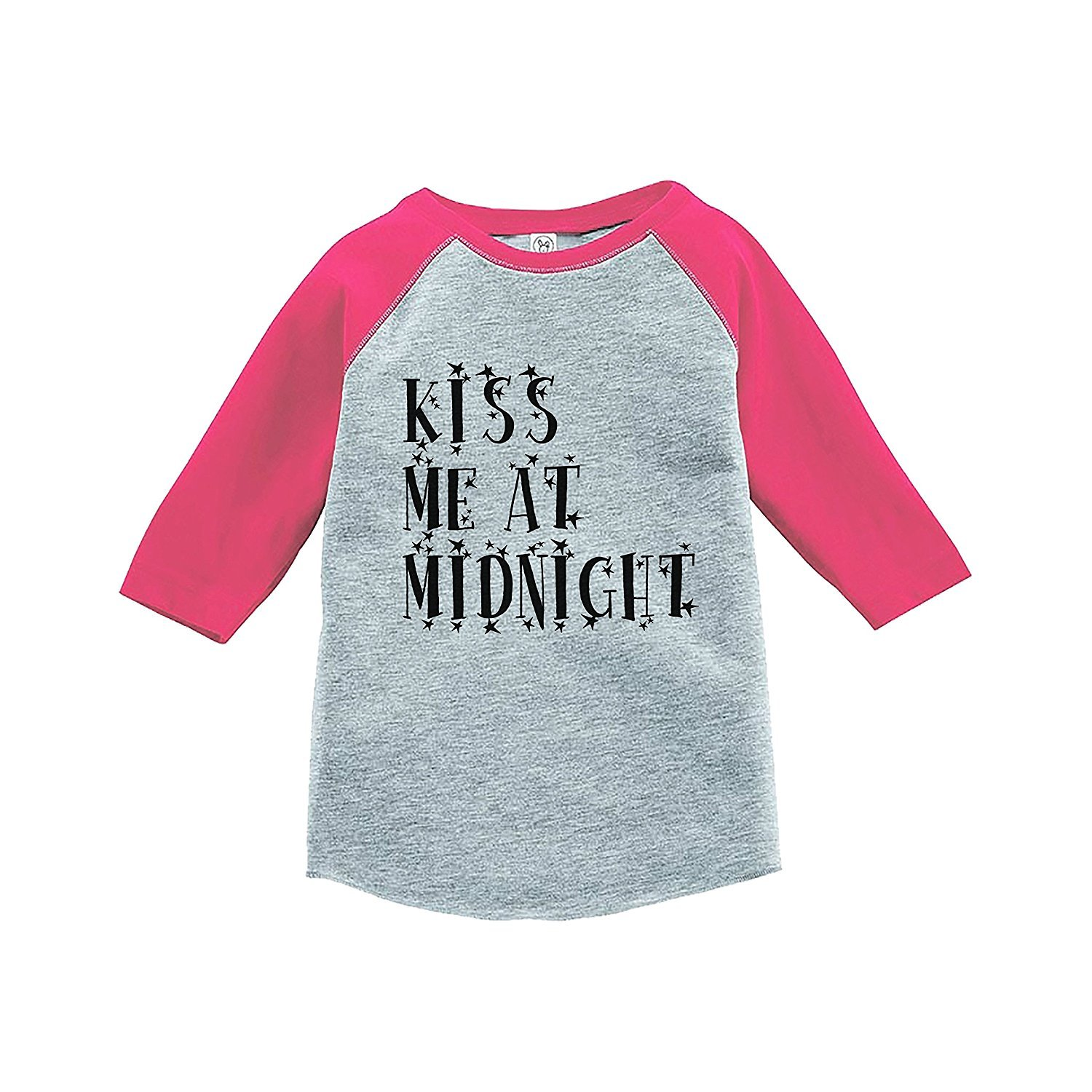 7 ate 9 Apparel Kids Kiss Me At Midnight New Year's Eve Pink Baseball Tee - 3T