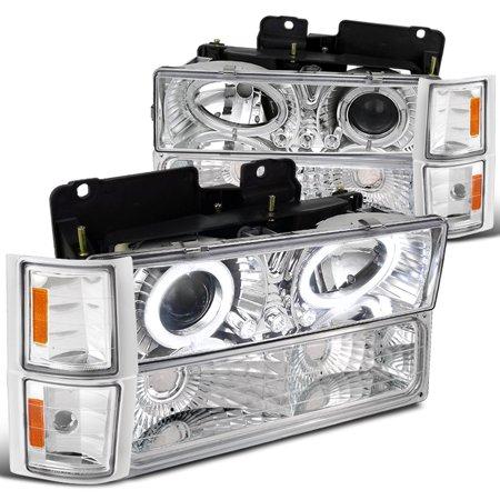 Spec-D Tuning 1994-1998 Chevy Chevrolet C10 C/K Tahoe Silverado Halo Led Chrome Projector Headlights + Corner Lights Bumper (Left + Right) 94 95 96 97 98