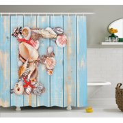 Letter F Shower Curtain Coastal Image With Soft Color Sea Related Animal Shells Alphabet