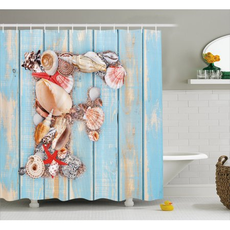 Letter F Shower Curtain, Coastal Image with Soft Color Sea Related Animal Shells Alphabet, Fabric Bathroom Set with Hooks, 69W X 70L Inches, Pale Blue Ivory Dark Coral, by Ambesonne