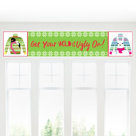 Wild and Ugly Sweater Party - Holiday and Christmas Animals Party Decorations Party Banner - Ugly Sweater Decorations