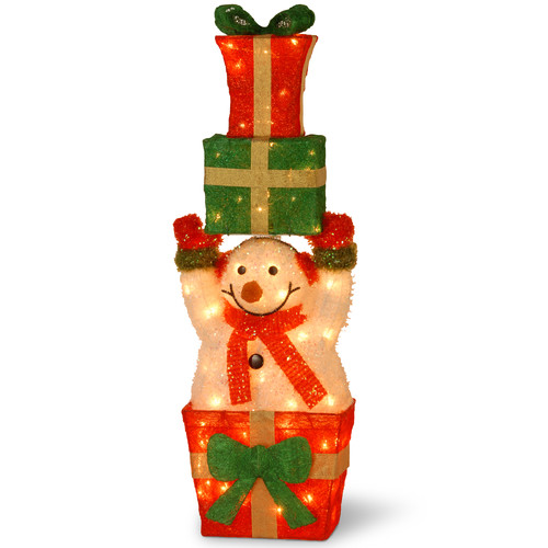 National Tree Co. Decorative D cor Pre-Lit Snowman Holding Gifts Christmas Decoration