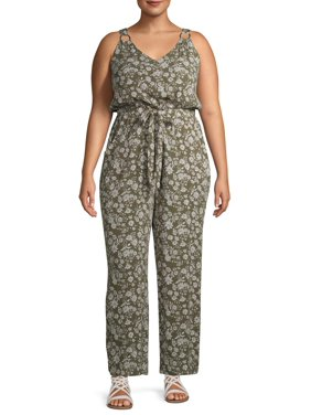 No Boundaries Juniors' Plus Size O-Ring Cinched Waist Jumpsuit