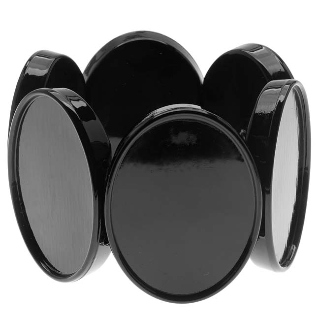 Black Plastic Stretch Bezel Collage Bracelet 30x40mm Ovals - 7 Inch (1)