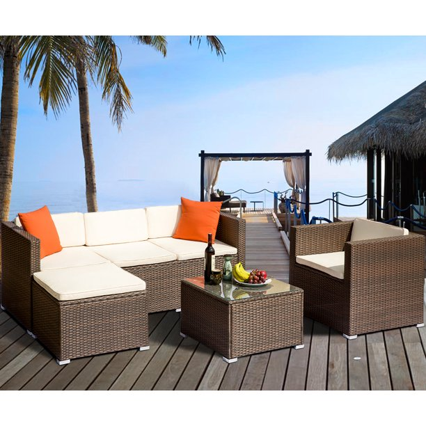 JUMPER 4-Piece Patio Rattan Wicker Furniture Set Outdoor ... on Patio Loveseat Set id=71882