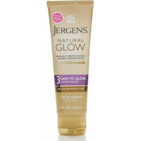 Jergens Natural Glow 3 Days to Glow Moisturizer, Fair to Medium 4 oz (Pack of