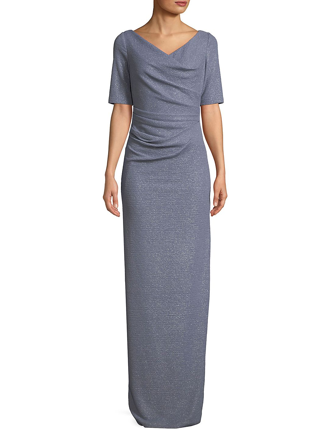 Ruched Metallic Knit Gown