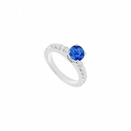 14K White Gold Sapphire & Diamond Engagement Ring - 1 CT TGW , 12 Stones