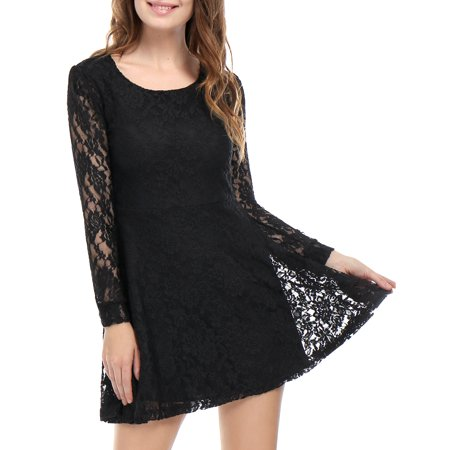 Unique Bargains Scoop Neck Long Sleeves Casual Lace Skater Dress For Women Black S Walmart Canada