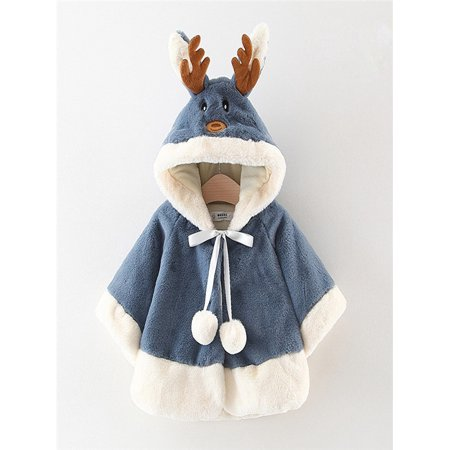 Kids Children Baby Christmas Costume Deer Hooded Cloak Cape Robe Coat Boys - Baby Boy Christmas Costume