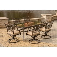 Hanover Outdoor Traditions 7-Piece Dining Set in Tan with Extra Large Glass-Top Dining Table