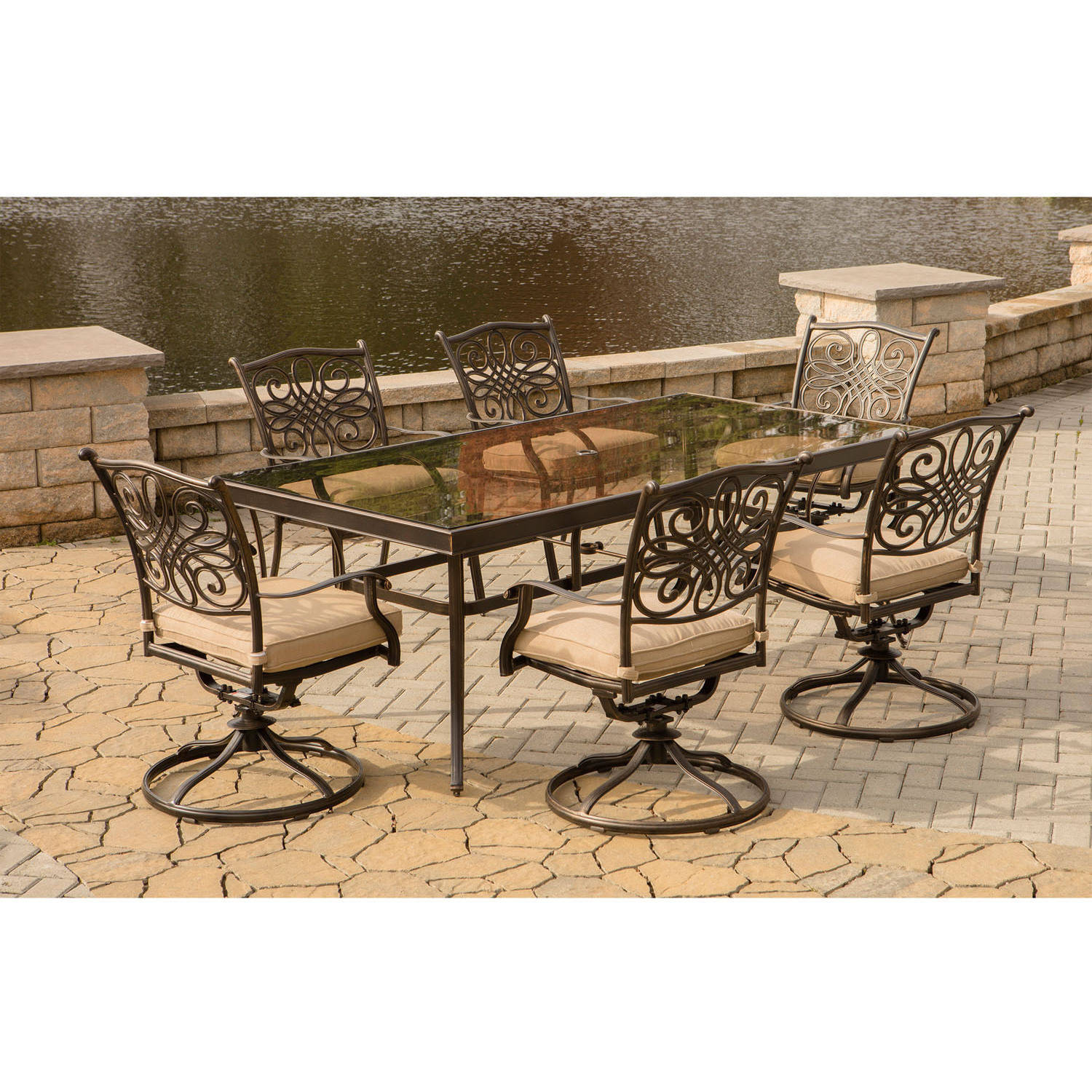 """Hanover Outdoor Traditions 7-Piece Dining Set with with 42"""" x 84"""" Glass-Top Table and 6 Swivel Rockers"""