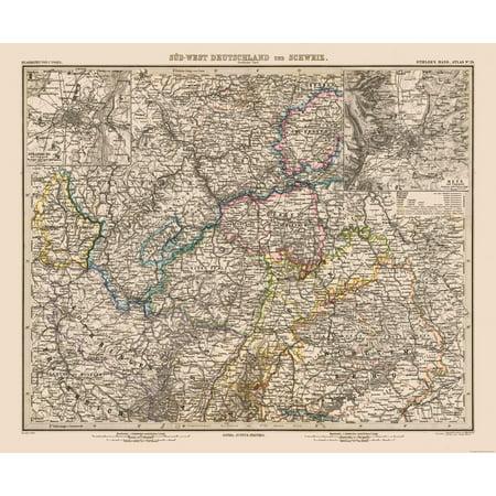 Old World Map Sw Germany Switzerland Stielers 1885 27 82 X 23