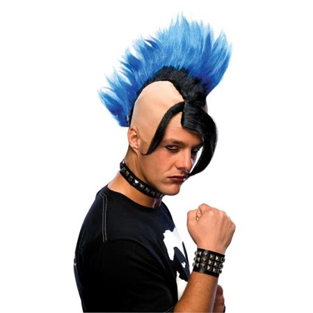 Cyber Punk Blue Mohawk Mens Adult Rocker Gothic Emo Costume Wig (Eko Halloween)