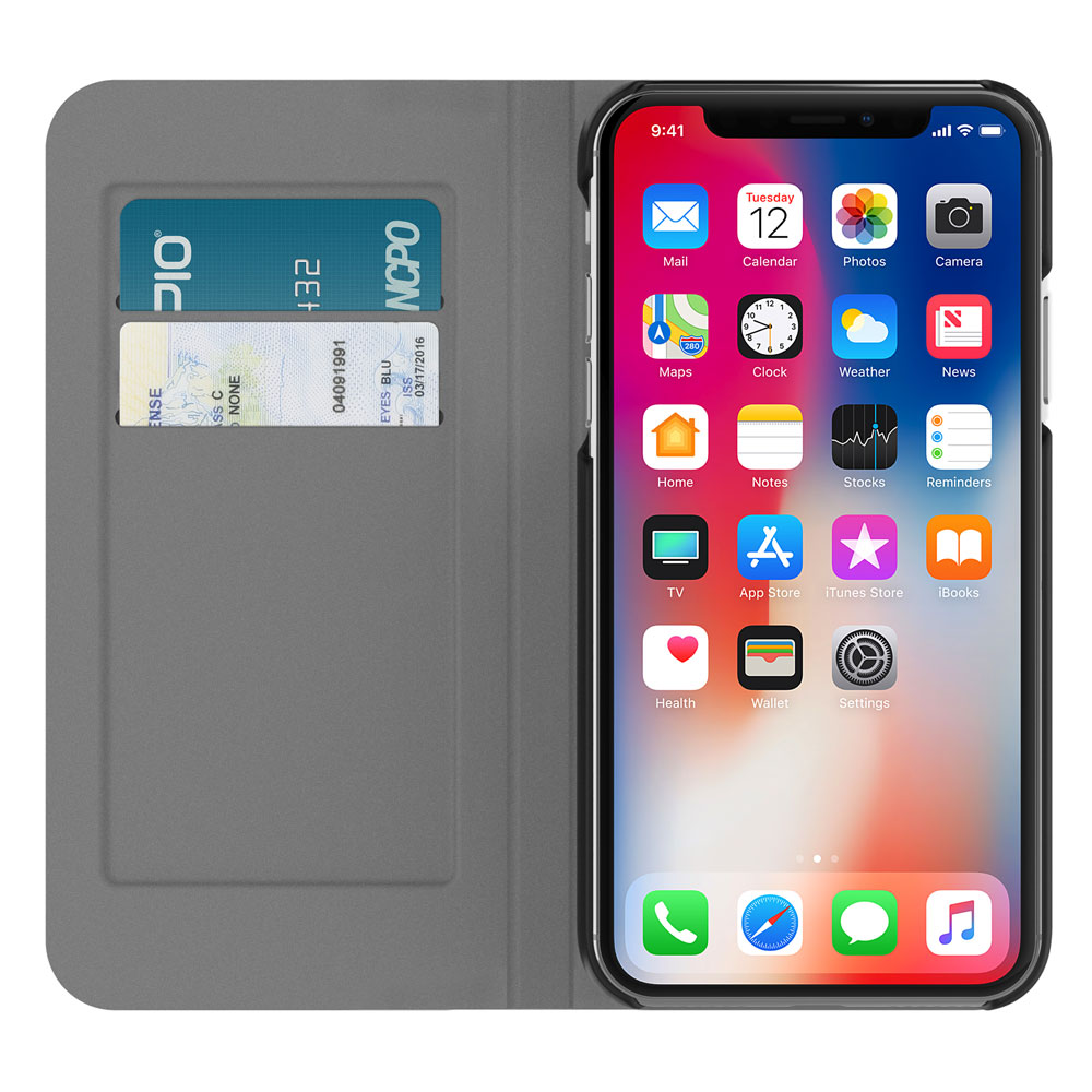 Incipio Carnaby Folio iPhone X Case [Esquire Series] with Card Slot Holder for iPhone X - Gray
