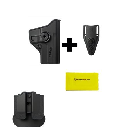Imi Defense Z2040 Mp04 Double Mag Pouch   Paddle   Z1110 360  Rotate Holster Sig Sauer P250 C Compact Right Hand  Black   Z2300 Low Ride Belt Loop Attachment   Ultimate Arms Gear Cleaning Cloth