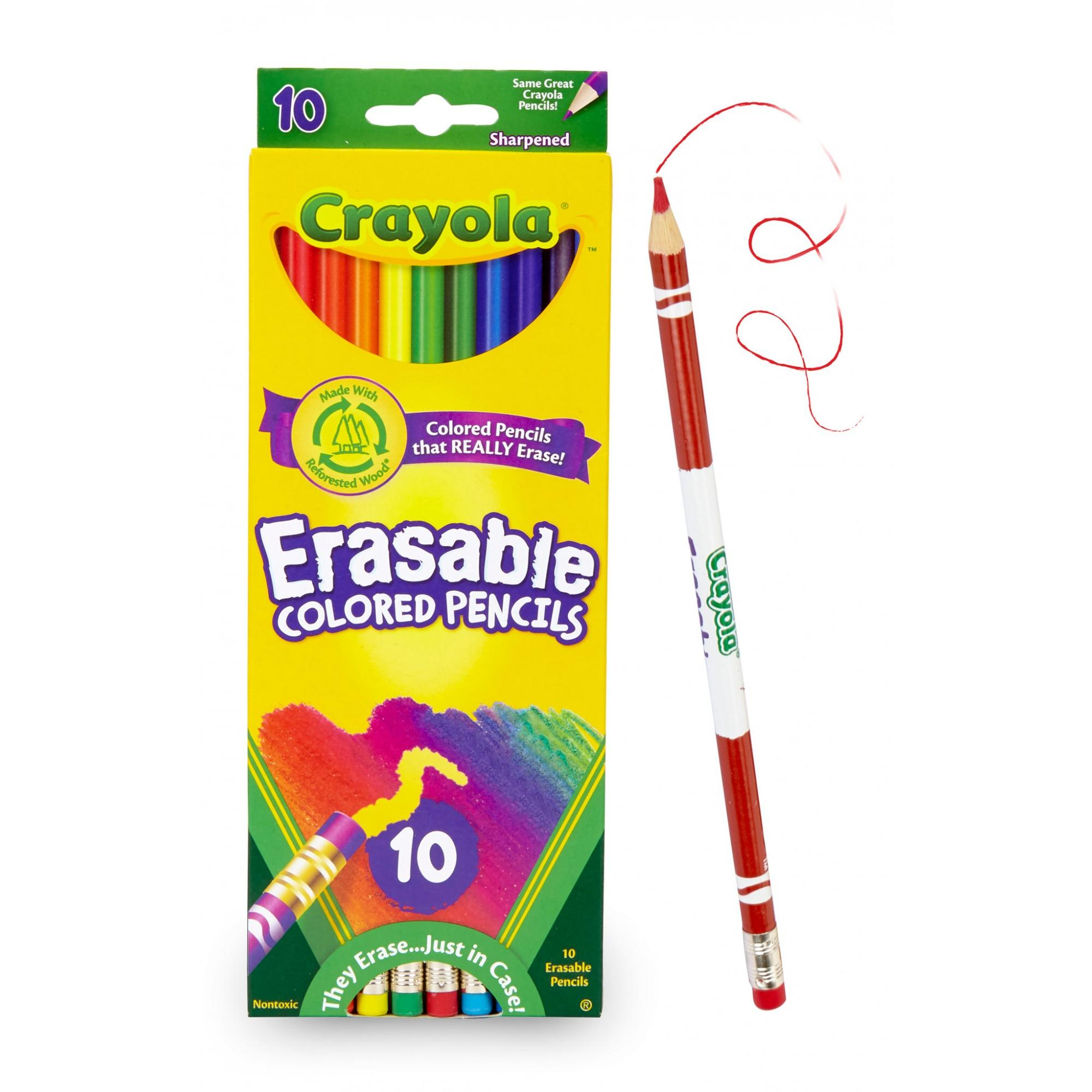 Crayola Erasable Colored Pencils, Great For Coloring Books, 10 Count