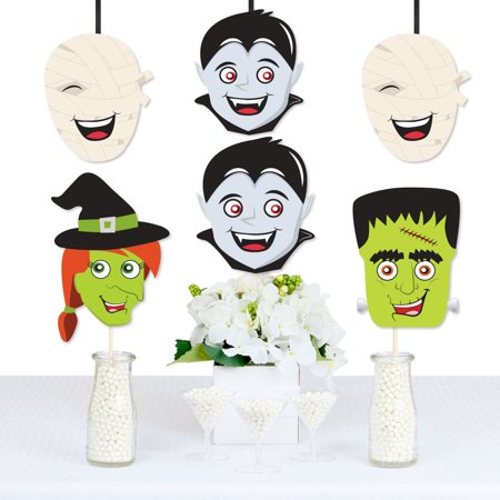 Halloween Monsters - Mummy, Vampire, Frankenstein & Witch Decorations DIY Halloween Party Essentials - Set of - Halloween Art Frankenstein