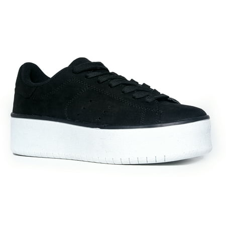 Suede Lace Up Walking Shoes - J. Adams Hero Platform Lace Up Sneaker Black Suede