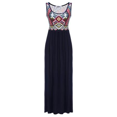 e57f66cea22 Hifashion Women Summer Beach Print Sleeveless Tank Top Long Maxi Dress HFON  - Walmart.com