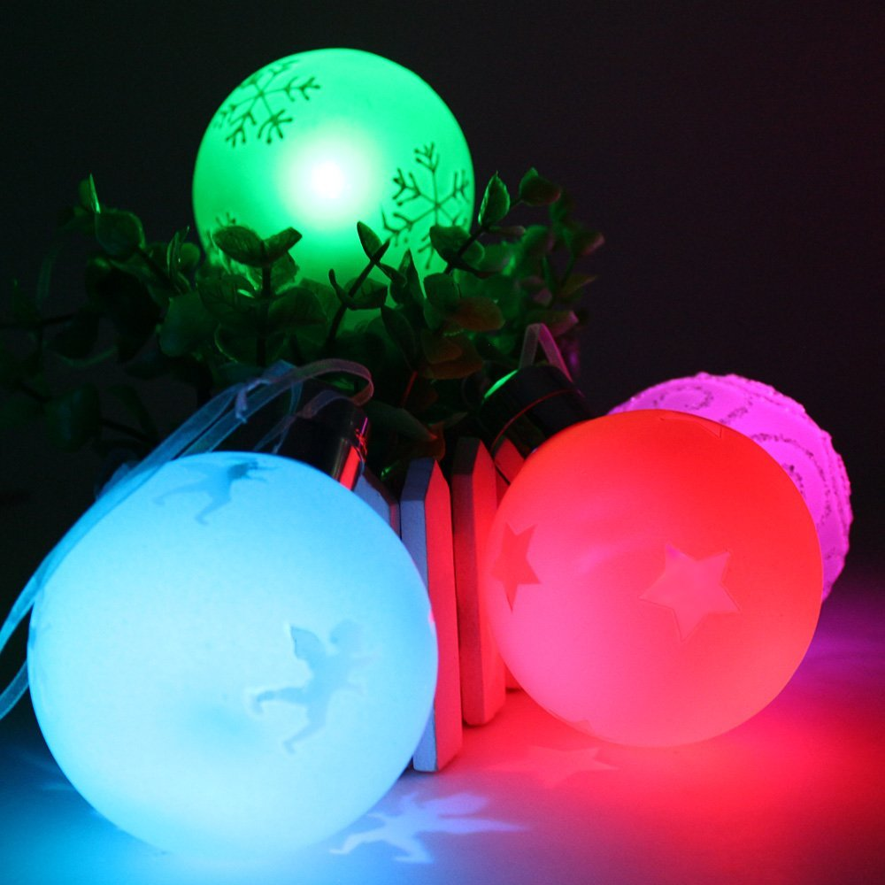 Wireless Remote Control LED Christmas Hanging Ball, RGB Color Changing Battery Operated Globe Lights for Xmas, Wedding, Party, Garden, Patio, Home, Indoor Decorative Lighting