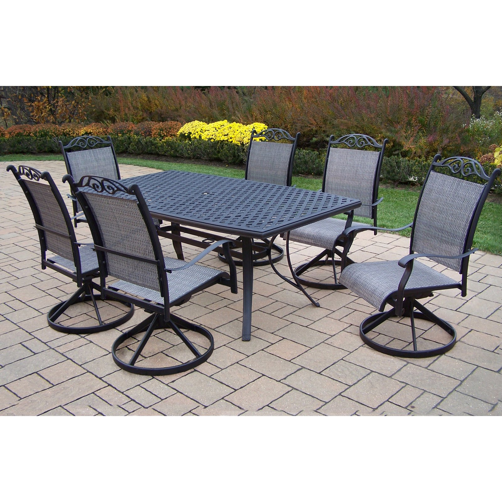 Oakland Living Cascade Patio Dining Room Set with Boat Shape Table Seats 6 by Oakland Living Corporation