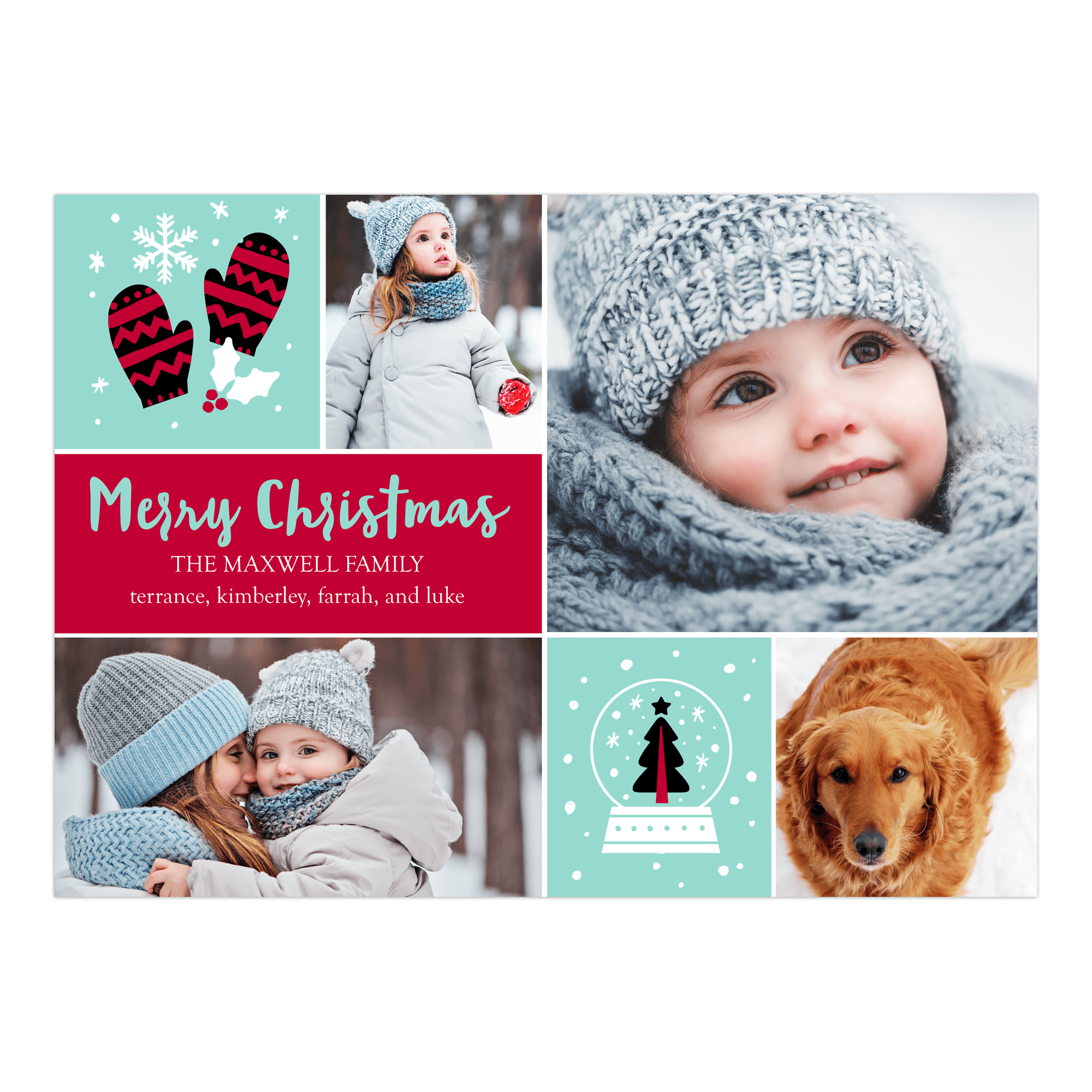 Christmas Icons - 5x7 Personalized Merry Christmas Holiday Card