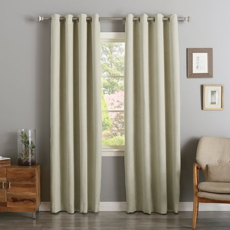 "Quality Home Suede Blackout Curtains - Stainless Nickel Grommet Top - 52""W x 84""L - Biscuit (Set of 2 Panels)"