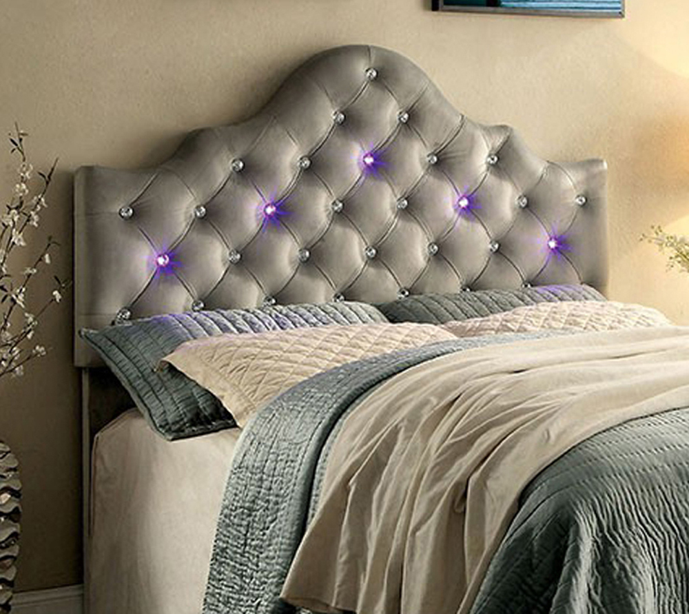 Aldebaran Contemporary Headboard King Size Bed, Gray by