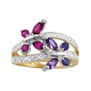 Personalized Family Jewelry Birthstones Hearts-A-Flutter Ring available in 10kt and 14kt Gold and Sterling Silver