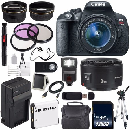 Cmos Lens - 6Ave Canon EOS Rebel T5i 18 MP CMOS Digital SLR Camera w/EF-S 18-55mm Lens International Version (no Warranty) + Canon EF 50mm Lens + 58mm 2x Telephoto Wide Angle Lenses Bundle 32