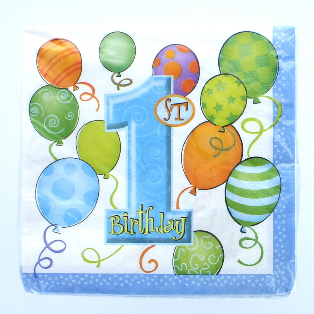 "Blue Boys 1st Birthday 13"" x13"" Luncheon Napkins 16 Count Party Supplies"