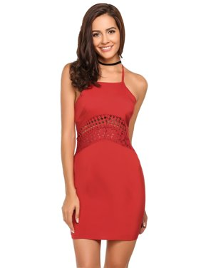 45db46673b653e Product Image 2018 The Newest Women s Sexy Spaghetti Strap Hollow Out Lace  Bodycon Cocktail Party Mini Dress HFON