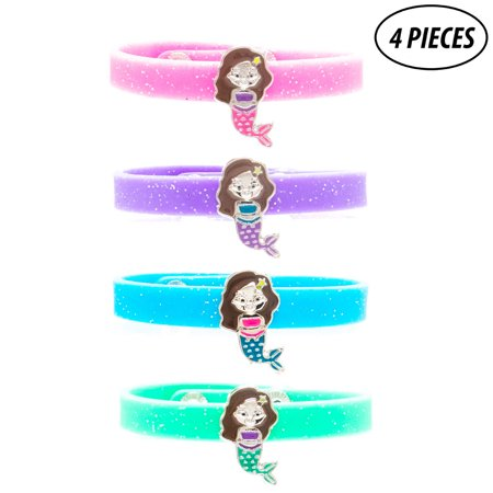 4 Pcs Mermaid Charm Glitter Silicone Snap Bracelets for Girls - Cute Gifts for Tween Girl - Valentine's Day Gifts - Easter Basket Fillers for