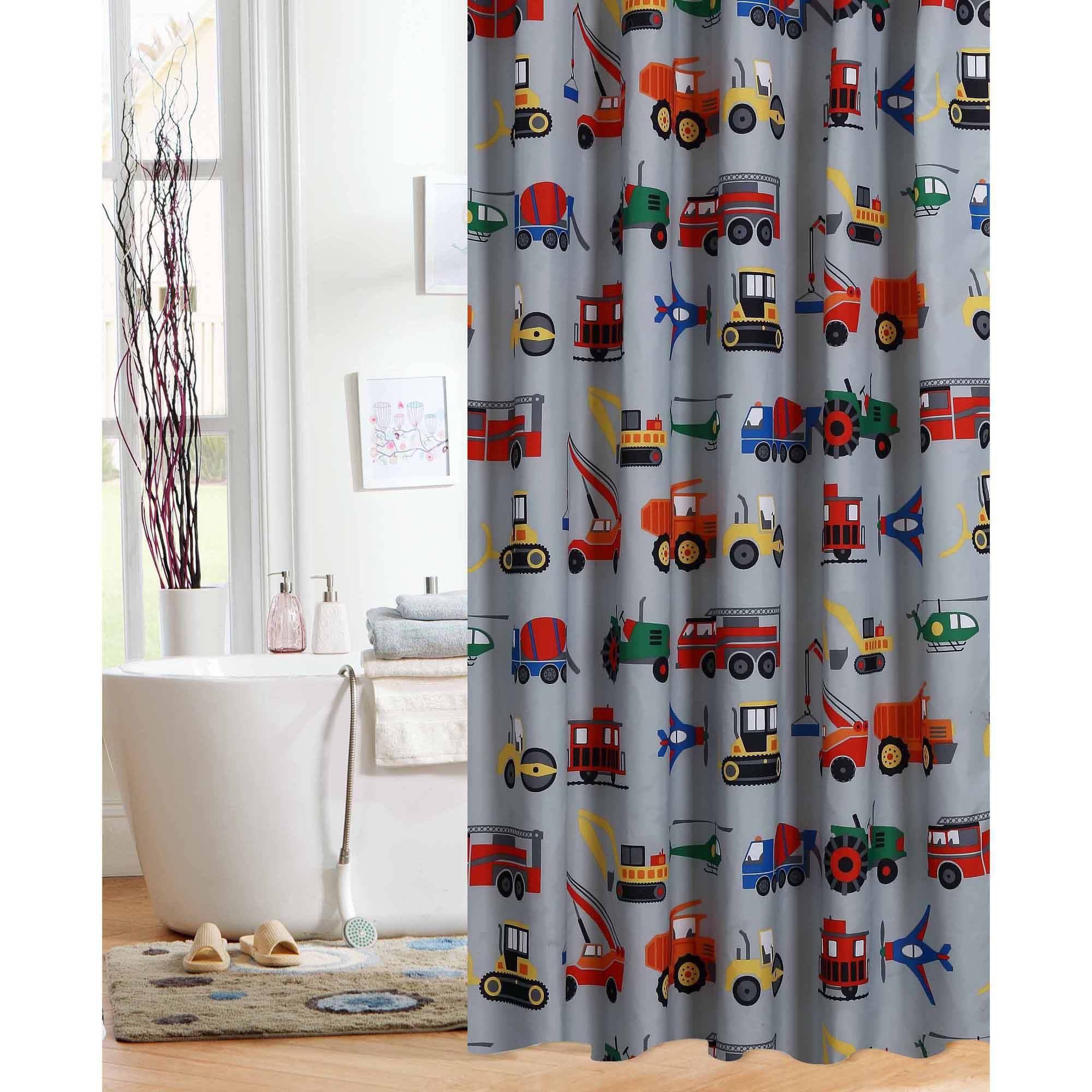 Mainstays™ Kids Sports Patch Red/Blue Fabric Shower Curtain ...