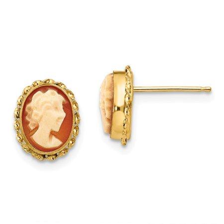 - 14k Yellow Gold Cameo Post Earrings - .5 Grams - Measures 9x7mm