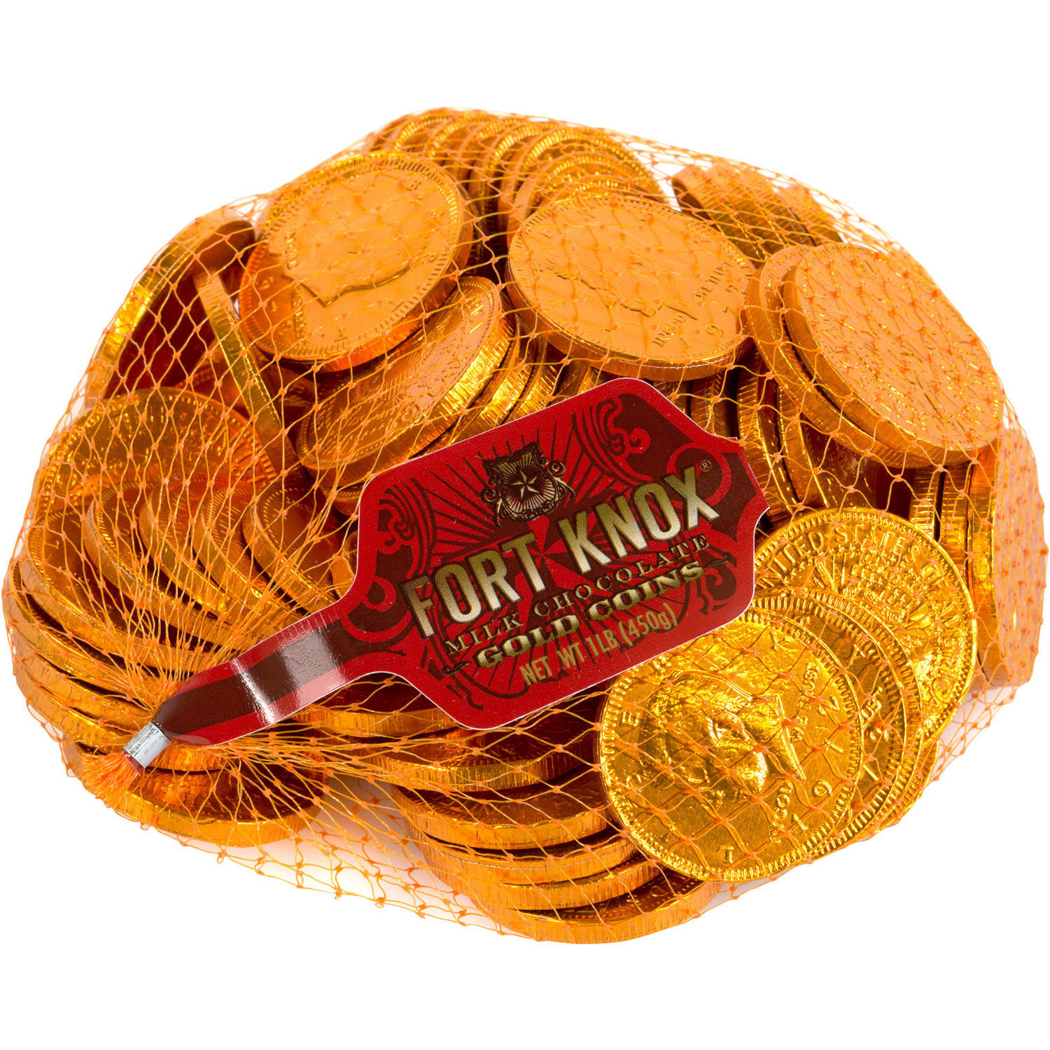 Fort Knox Orange Foil Milk Chocolate Gold Coins, 1 lb by