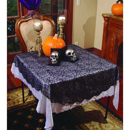 Halloween Lace Home Décor - Spider Lace Rounded Table Cloth, By Underwraps (Halloween Cloth)