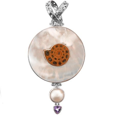 """Ammonite Fossil Mother Of Pearl Shell Mabe Cultured Pearl 925 Sterling Silver Pendant, 2 3/4"""""""